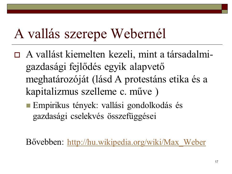 A vallás szerepe Webernél