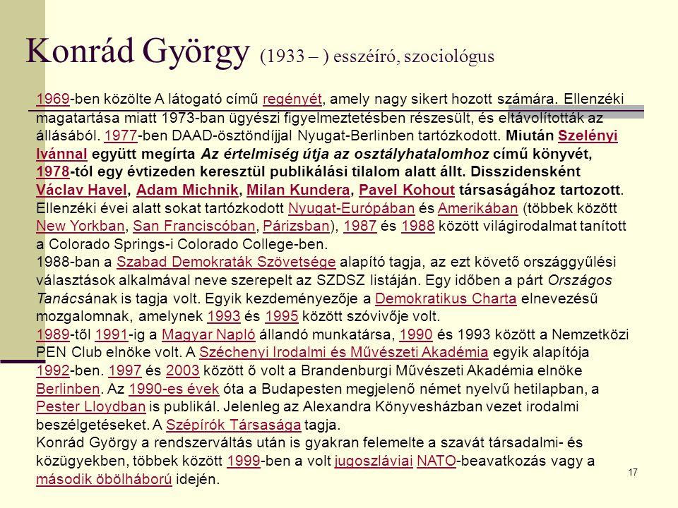 Konrád György (1933 – ) esszéíró, szociológus