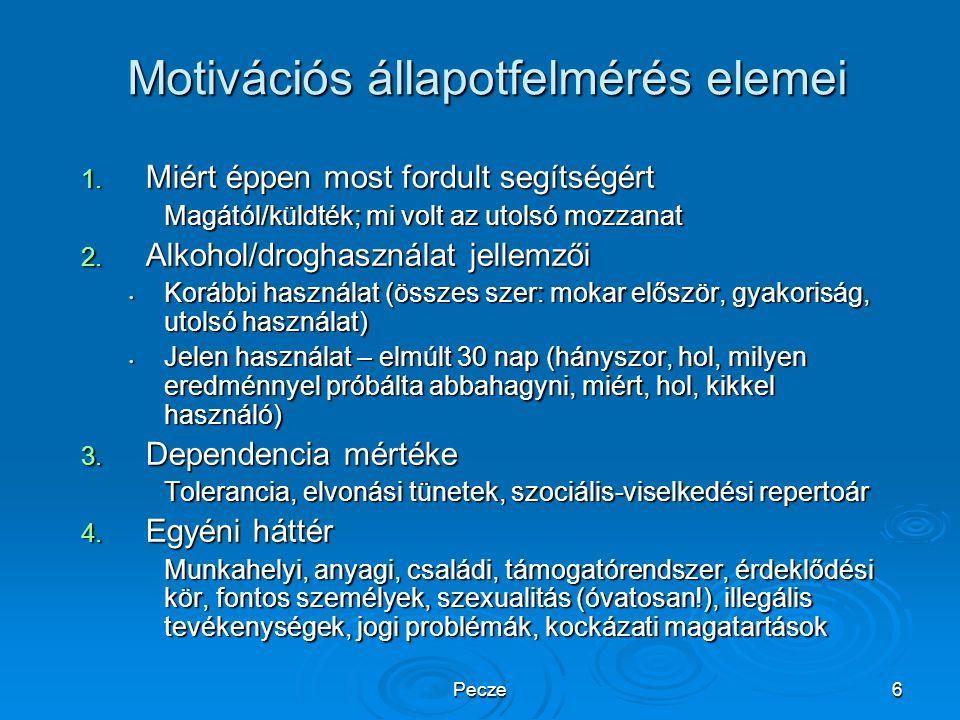 Motivációs állapotfelmérés elemei
