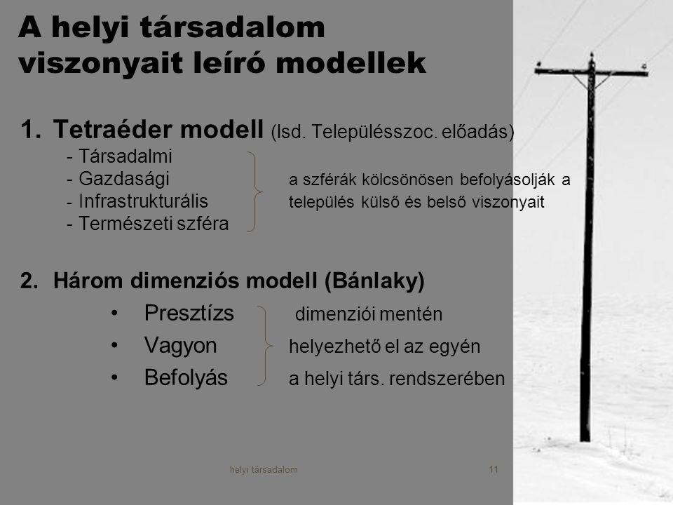 A helyi társadalom viszonyait leíró modellek