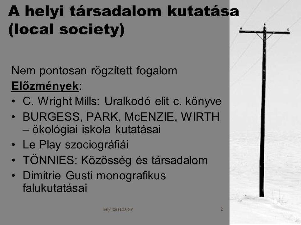 A helyi társadalom kutatása (local society)