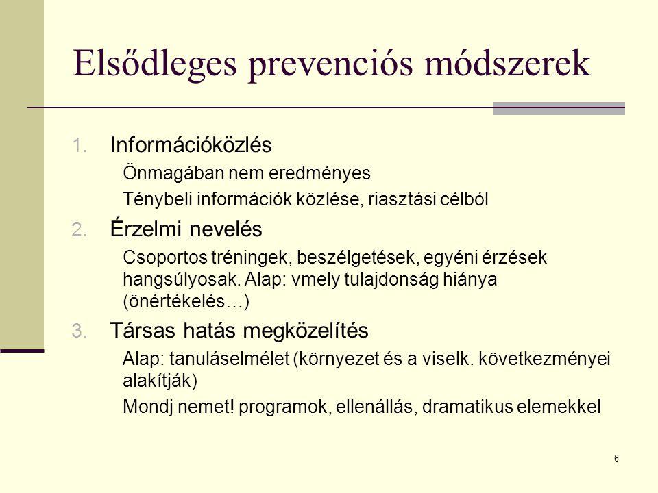 Elsődleges prevenciós módszerek