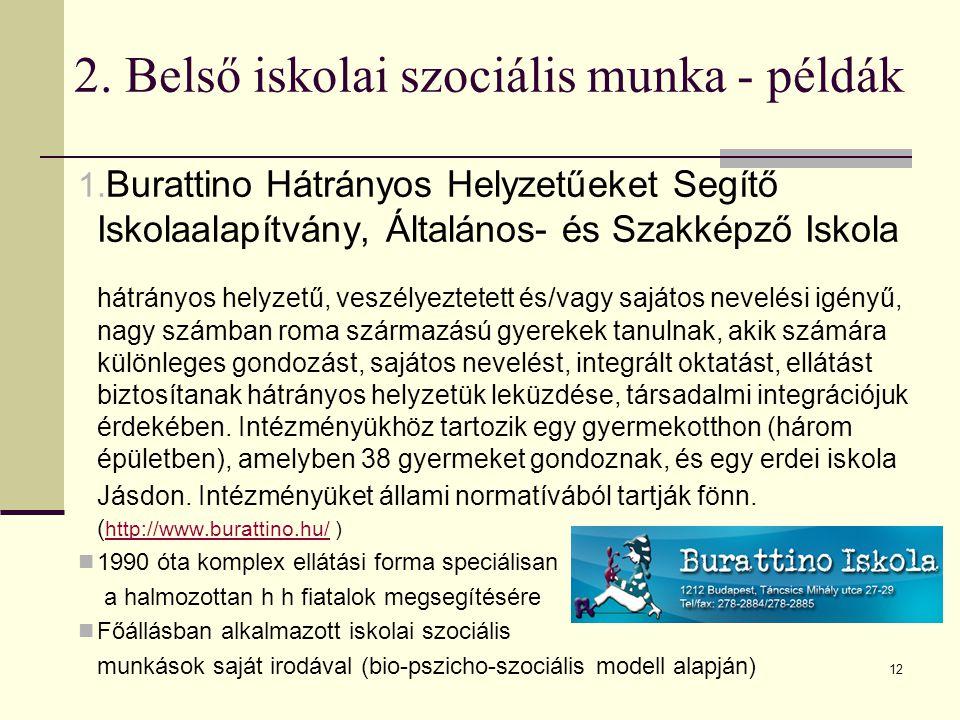 2. Belső iskolai szociális munka - példák