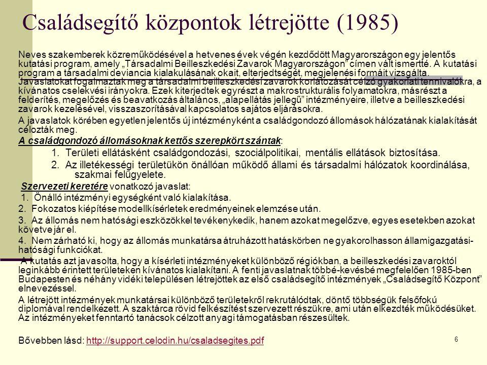 Családsegítő központok létrejötte (1985)