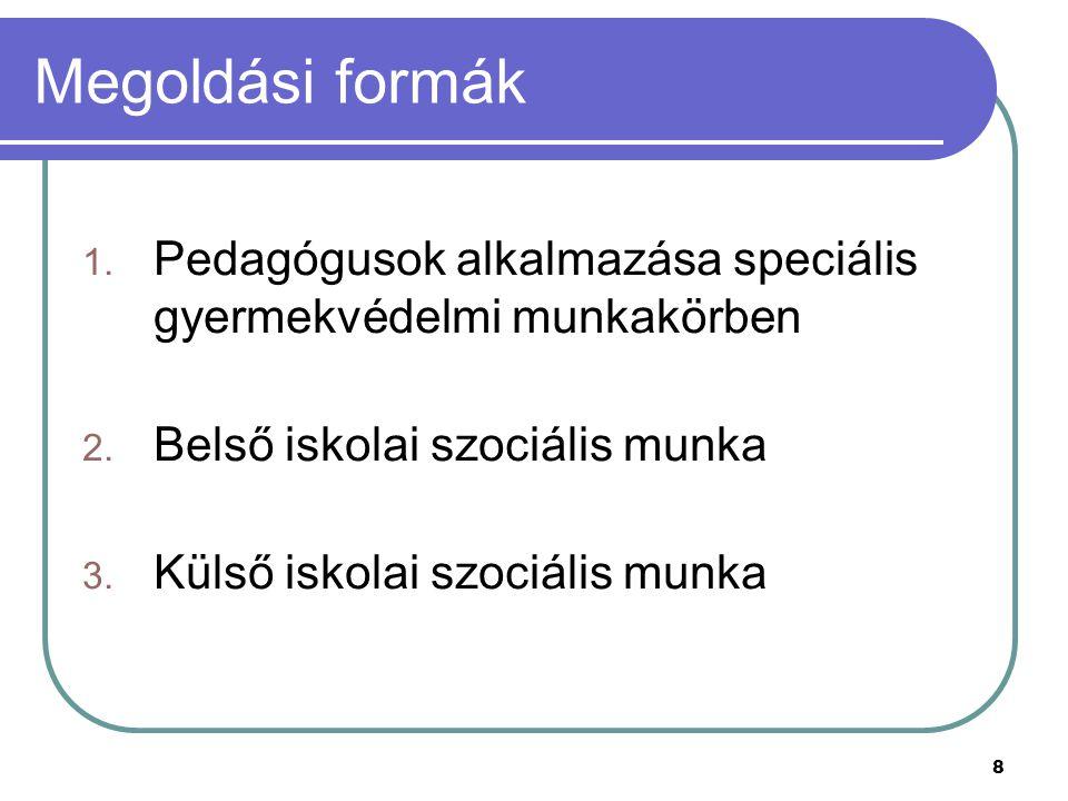 Megoldási formák Pedagógusok alkalmazása speciális gyermekvédelmi munkakörben. Belső iskolai szociális munka.