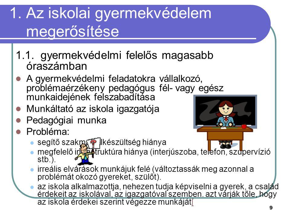1. Az iskolai gyermekvédelem megerősítése