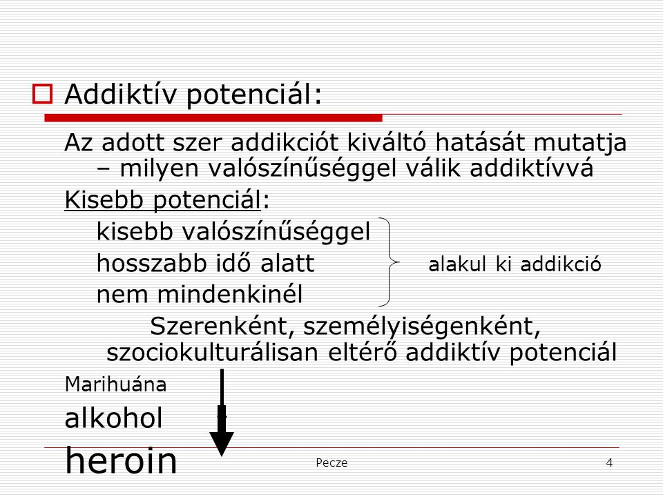 heroin Addiktív potenciál: alkohol