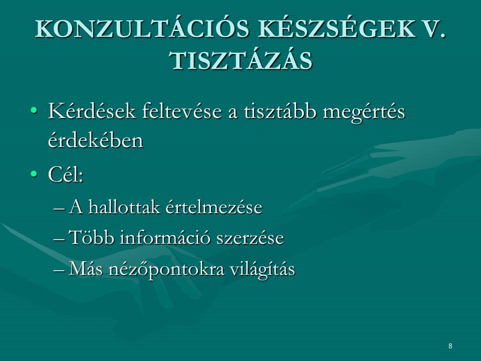 KONZULTÁCIÓS KÉSZSÉGEK V. TISZTÁZÁS