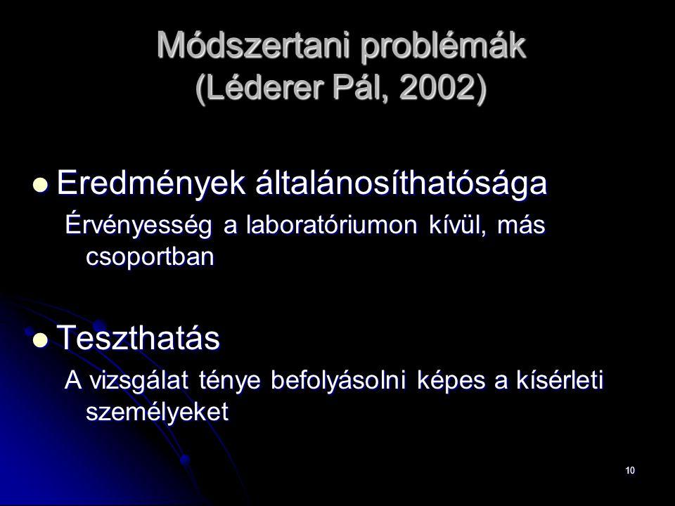 Módszertani problémák (Léderer Pál, 2002)