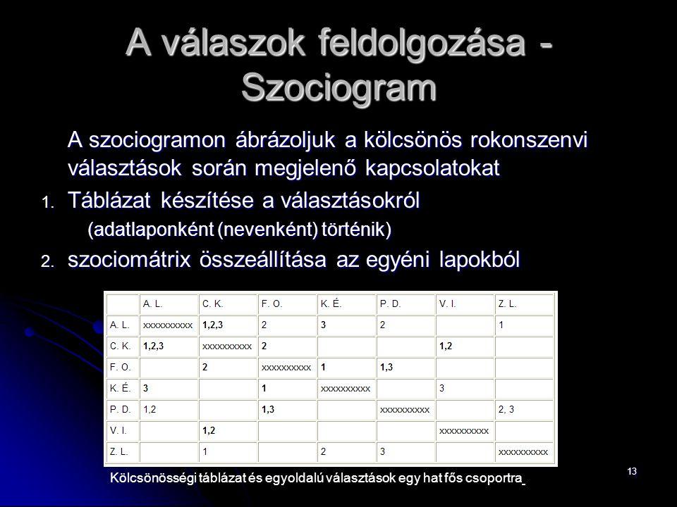 A válaszok feldolgozása -Szociogram