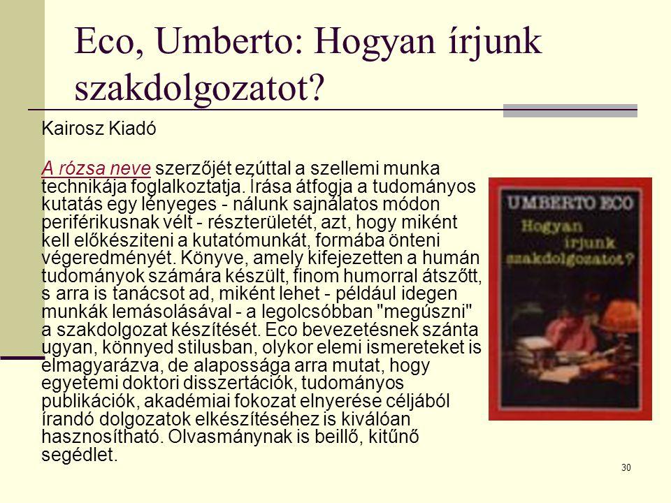 Eco, Umberto: Hogyan írjunk szakdolgozatot
