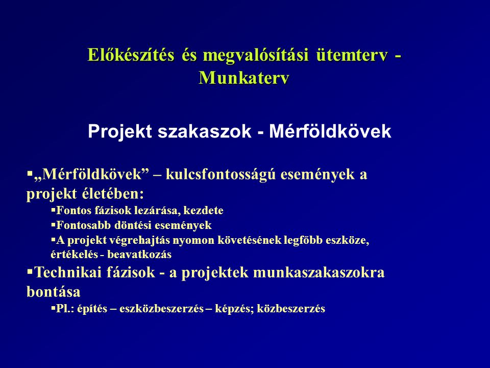 Előkészítés és megvalósítási ütemterv - Munkaterv