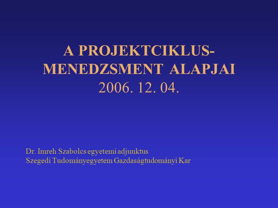 A PROJEKTCIKLUS-MENEDZSMENT ALAPJAI 2006. 12. 04.