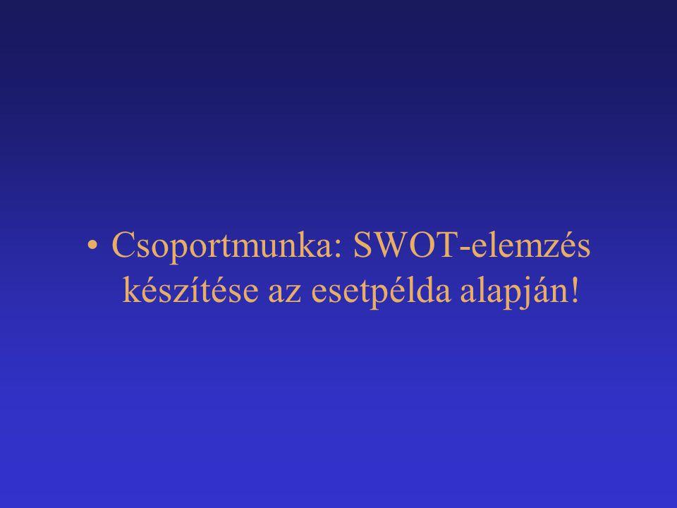 Csoportmunka: SWOT-elemzés készítése az esetpélda alapján!