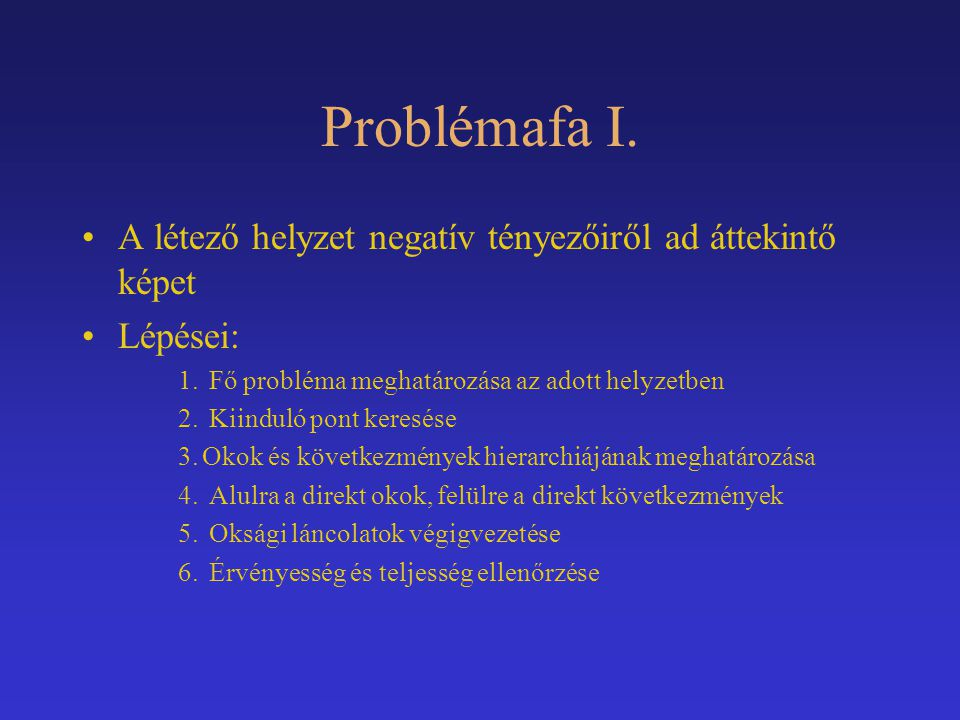 Problémafa I. A létező helyzet negatív tényezőiről ad áttekintő képet