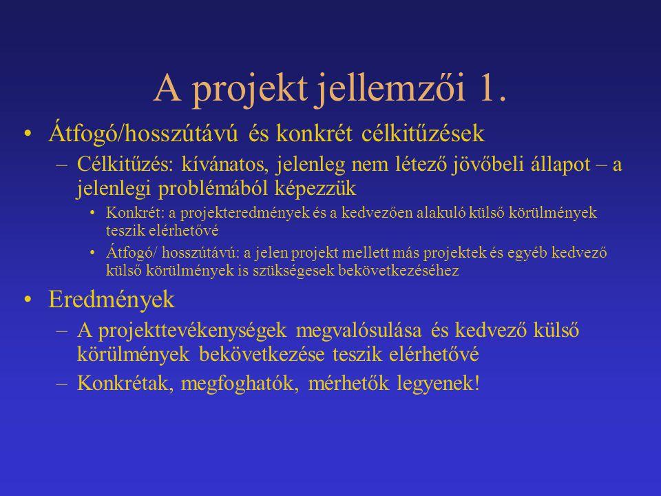 A projekt jellemzői 1. Átfogó/hosszútávú és konkrét célkitűzések