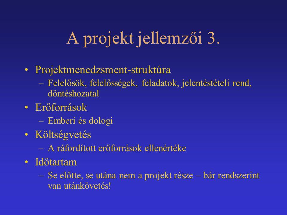 A projekt jellemzői 3. Projektmenedzsment-struktúra Erőforrások