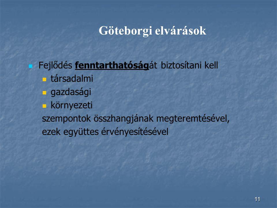 Göteborgi elvárások Fejlődés fenntarthatóságát biztosítani kell