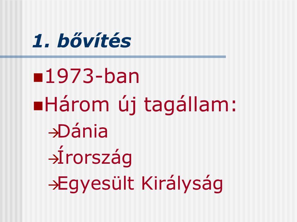 1973-ban Három új tagállam: 1. bővítés Dánia Írország