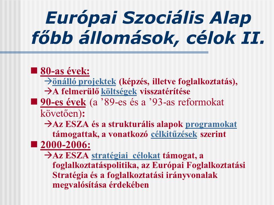 Európai Szociális Alap főbb állomások, célok II.