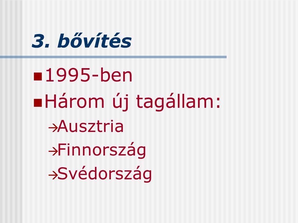 3. bővítés 1995-ben Három új tagállam: Ausztria Finnország Svédország