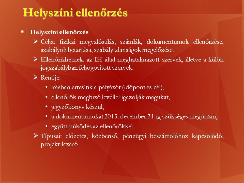 Helyszíni ellenőrzés Helyszíni ellenőrzés