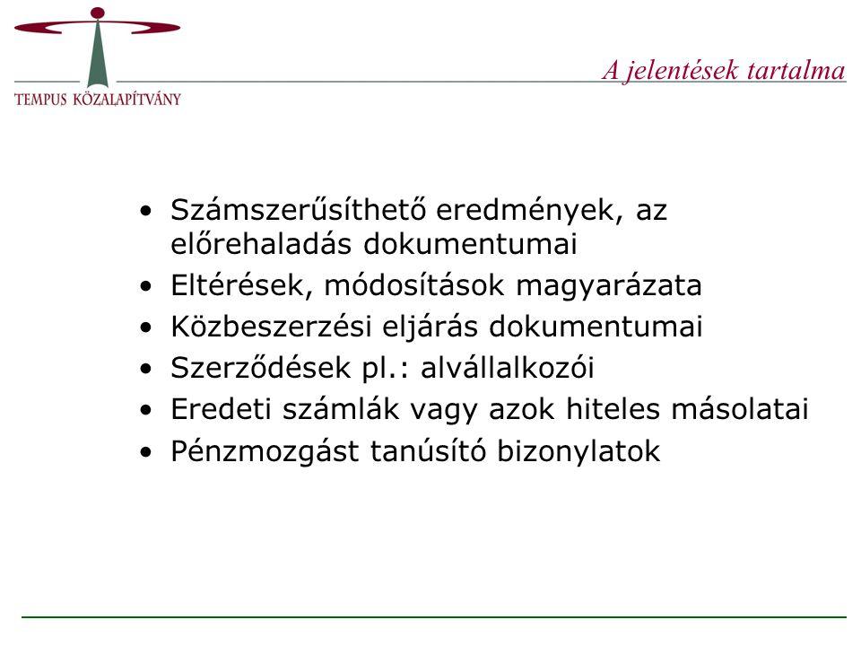 A jelentések tartalma Számszerűsíthető eredmények, az előrehaladás dokumentumai. Eltérések, módosítások magyarázata.