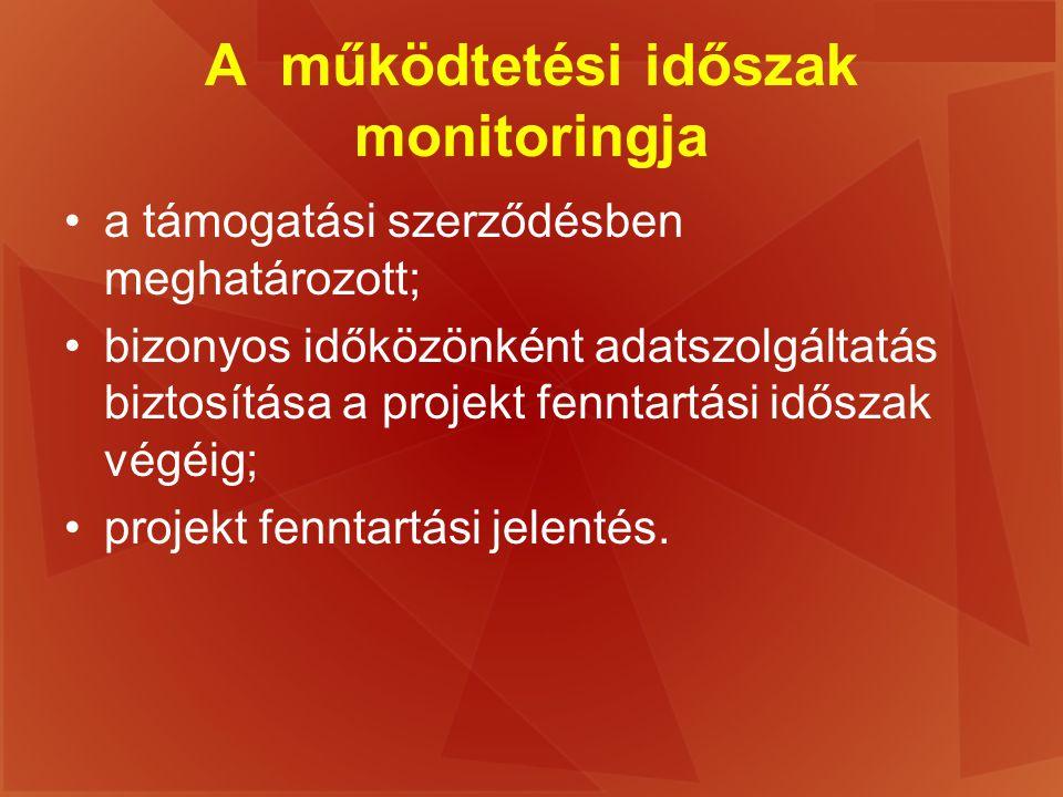 A működtetési időszak monitoringja