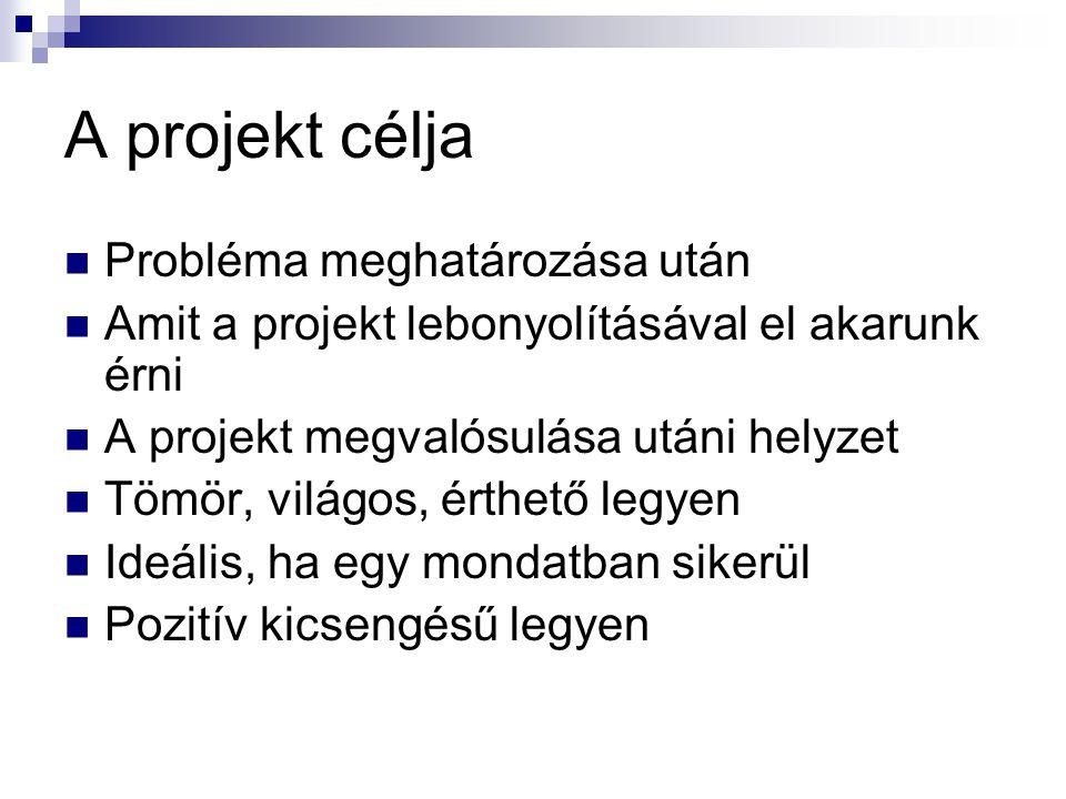A projekt célja Probléma meghatározása után
