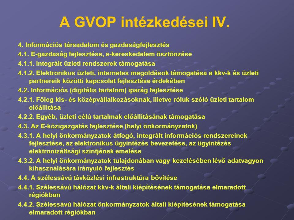 A GVOP intézkedései IV. 4. Információs társadalom és gazdaságfejlesztés. 4.1. E-gazdaság fejlesztése, e-kereskedelem ösztönzése.