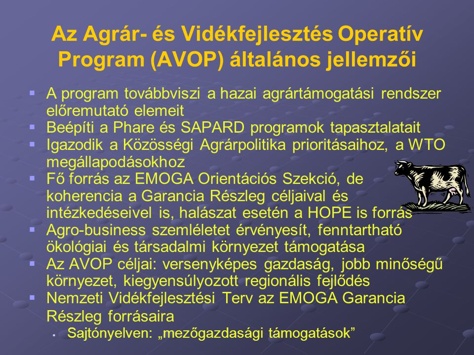 Az Agrár- és Vidékfejlesztés Operatív Program (AVOP) általános jellemzői