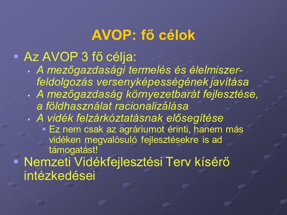 AVOP: fő célok Az AVOP 3 fő célja: