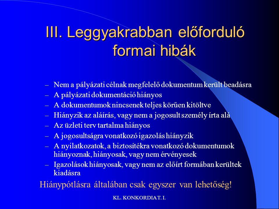 III. Leggyakrabban előforduló formai hibák