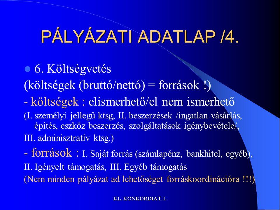 PÁLYÁZATI ADATLAP /4. 6. Költségvetés
