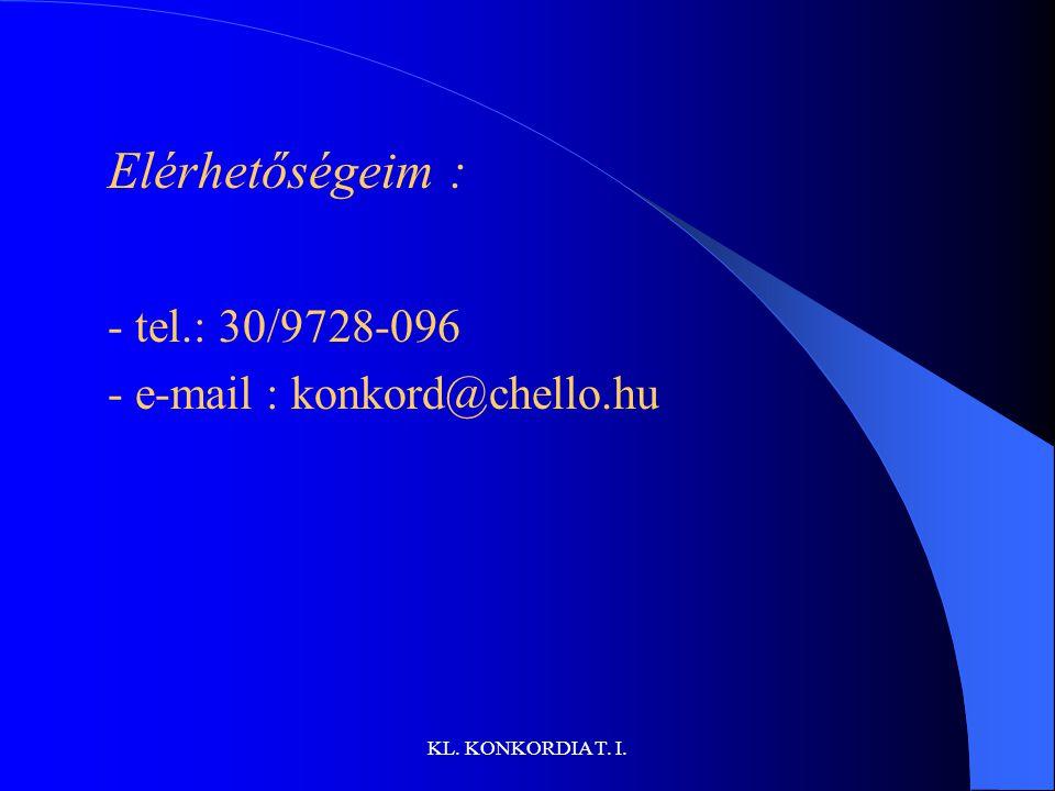 Elérhetőségeim : - tel.: 30/9728-096 - e-mail : konkord@chello.hu