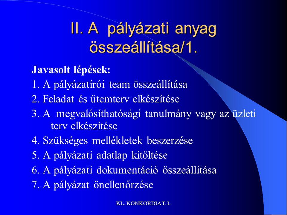 II. A pályázati anyag összeállítása/1.