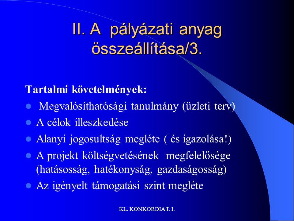 II. A pályázati anyag összeállítása/3.