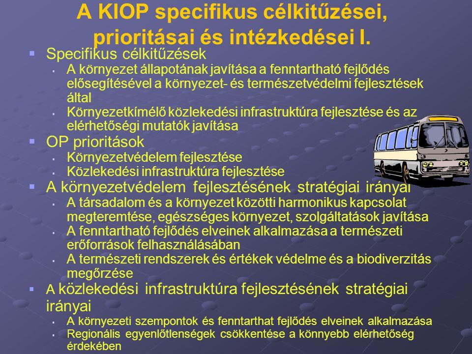 A KIOP specifikus célkitűzései, prioritásai és intézkedései I.