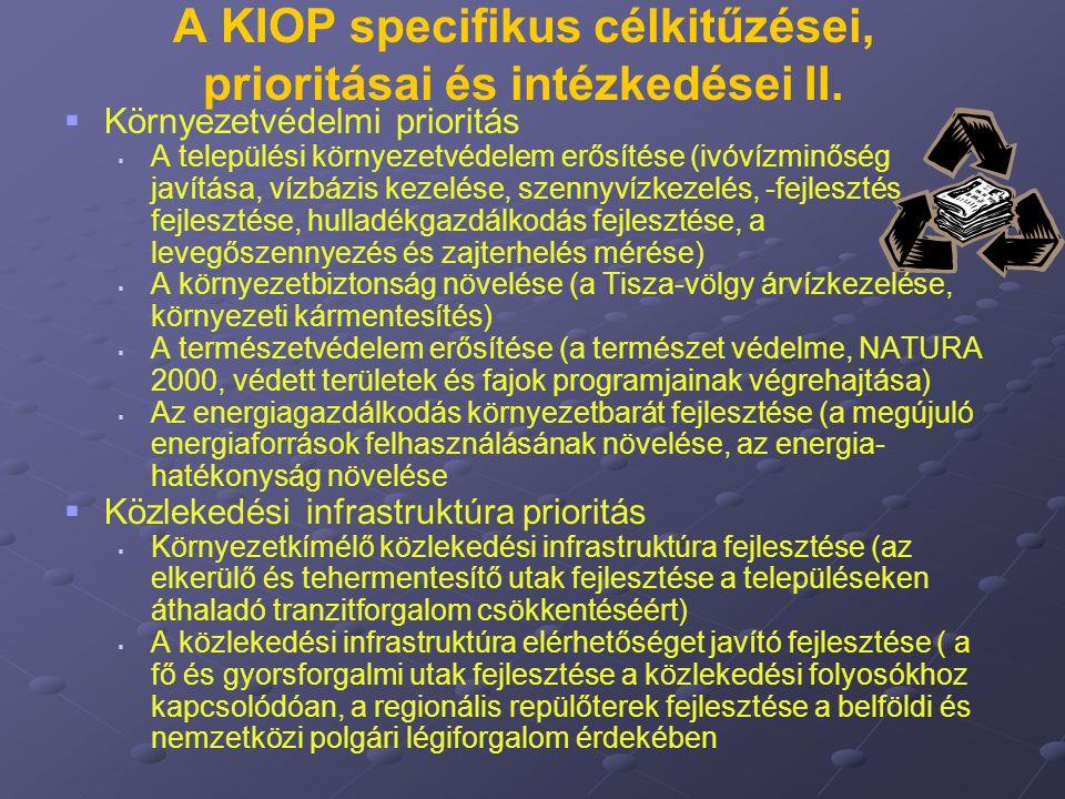 A KIOP specifikus célkitűzései, prioritásai és intézkedései II.