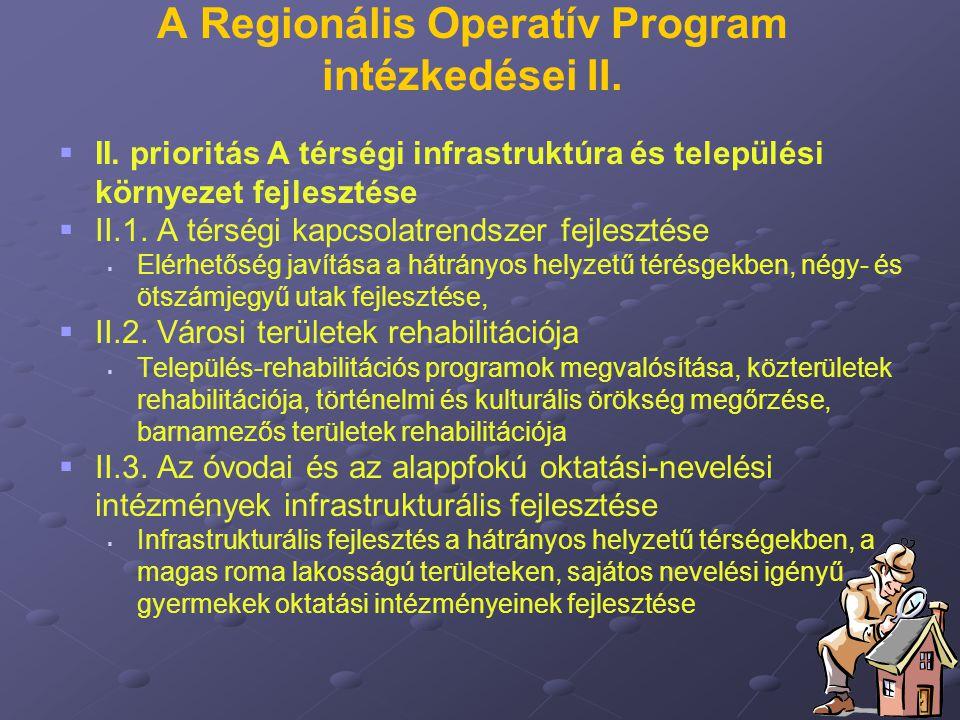 A Regionális Operatív Program intézkedései II.