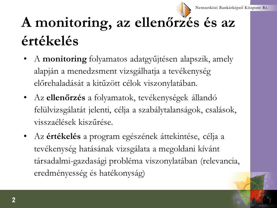 A monitoring, az ellenőrzés és az értékelés