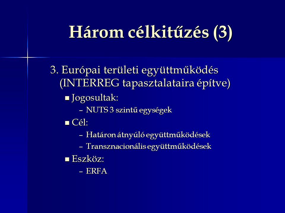 Három célkitűzés (3) 3. Európai területi együttműködés (INTERREG tapasztalataira építve) Jogosultak: