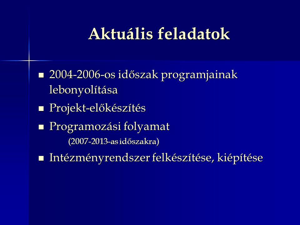 Aktuális feladatok 2004-2006-os időszak programjainak lebonyolítása