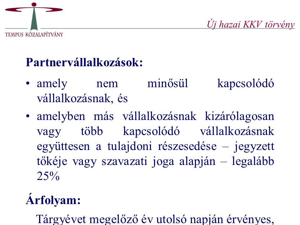 Új hazai KKV törvény Partnervállalkozások: amely nem minősül kapcsolódó vállalkozásnak, és.