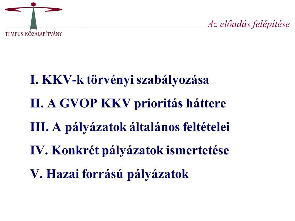 I. KKV-k törvényi szabályozása II. A GVOP KKV prioritás háttere
