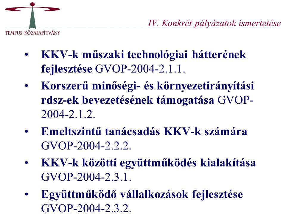 IV. Konkrét pályázatok ismertetése
