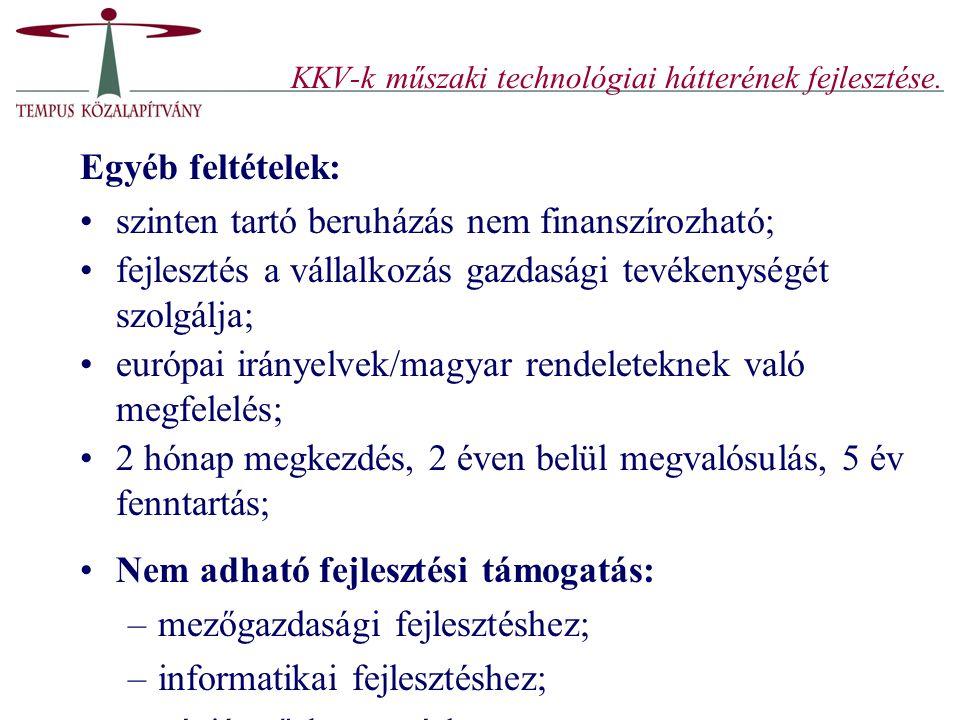 KKV-k műszaki technológiai hátterének fejlesztése.
