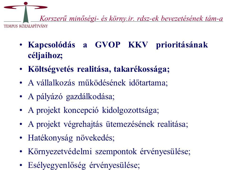 Korszerű minőségi- és körny.ir. rdsz-ek bevezetésének tám-a
