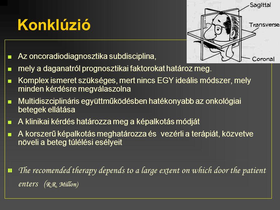 Konklúzió Az oncoradiodiagnosztika subdisciplina, mely a daganatról prognosztikai faktorokat határoz meg.