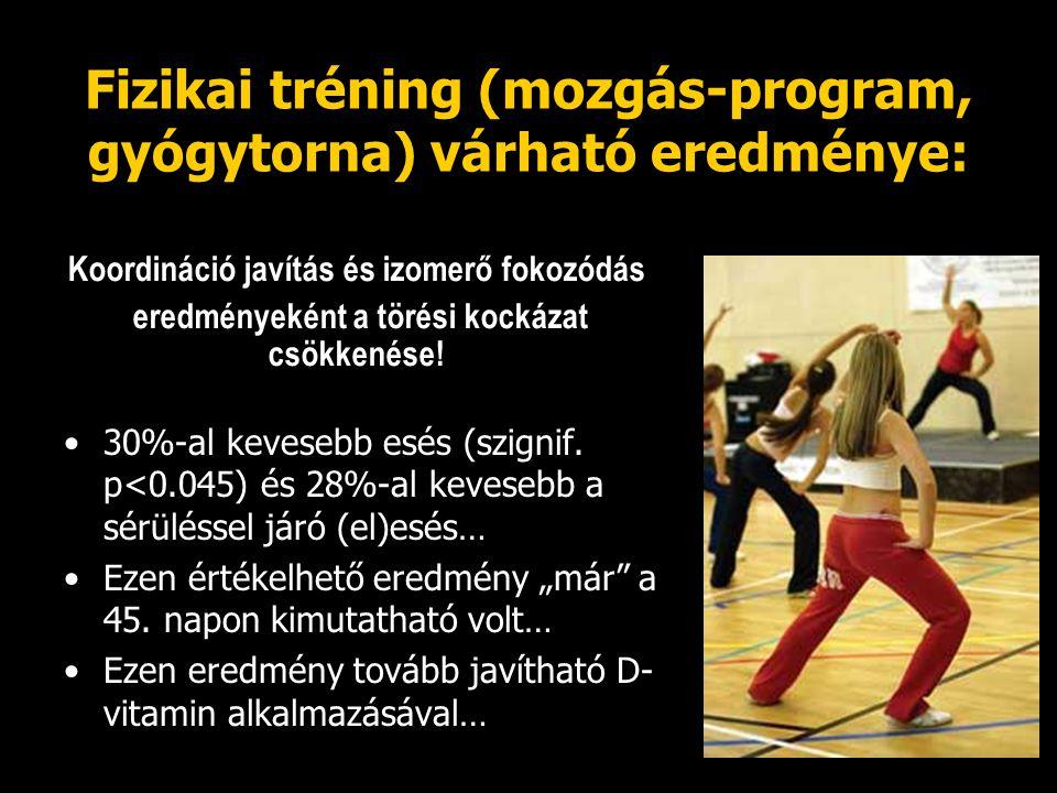 Fizikai tréning (mozgás-program, gyógytorna) várható eredménye: